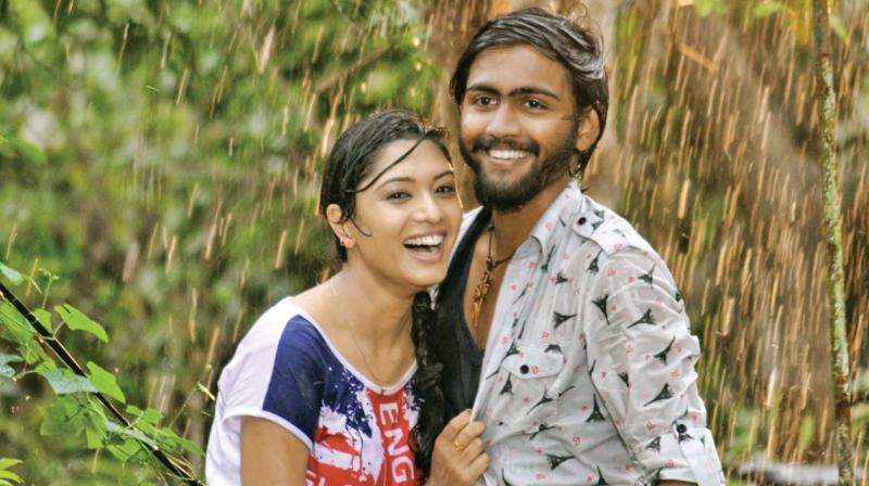 Akshatha and Pratheek in a still from the film.