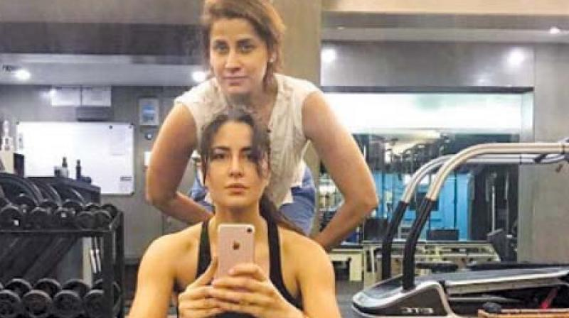 Yasmin Karachiwala during a session with Bollywood actor Katrina Kaif (Photo: Instagram)