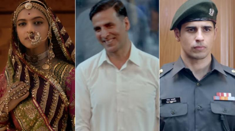 A still from 'Padmaavat', 'Padman' and 'Aiyaary'.