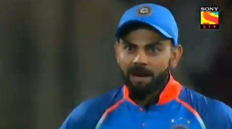 Virat Kohli returned the sledging favour when Shamsi was at the crease during the South African innings. (Photo: Screengrab)