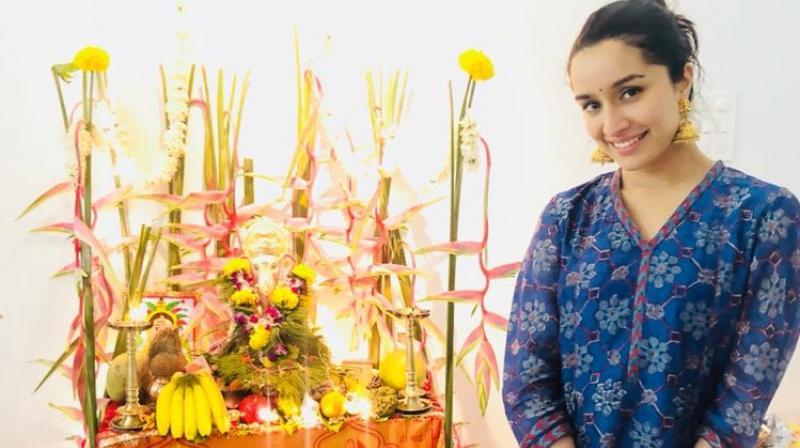 Shraddha Kapoor at Ganesha Chaturthi festival.