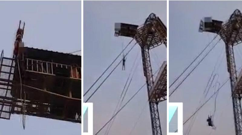 The video shows the woman standing on the platform, preparing herself for the jump. (Photo: YouTube Screengrab)