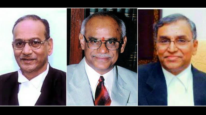 Retired HC judge Justice B. Chandra Kumar, Retired HC judge ustice P. Lakshman Reddy and Senior advocate Narasimha Reddy