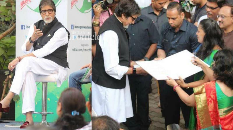 Amitabh Bachchan on Thursday lent his support to a campaign towards the importance of cleanliness in the country. (Photo: Viral Bhayani/ Twitter)