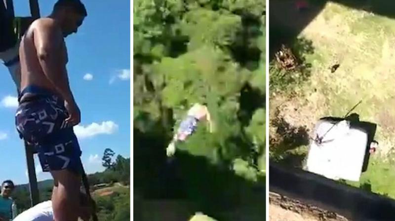 The video starts with Fabio Ezequiel de Moraes preparing for the 40-metre jump. (Photo: YouTube Screengrab)