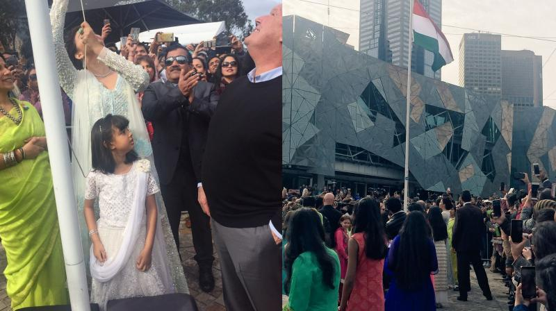 Aishwarya with daughter Aaradhya hoists the Indian National Flag at Federation Square.