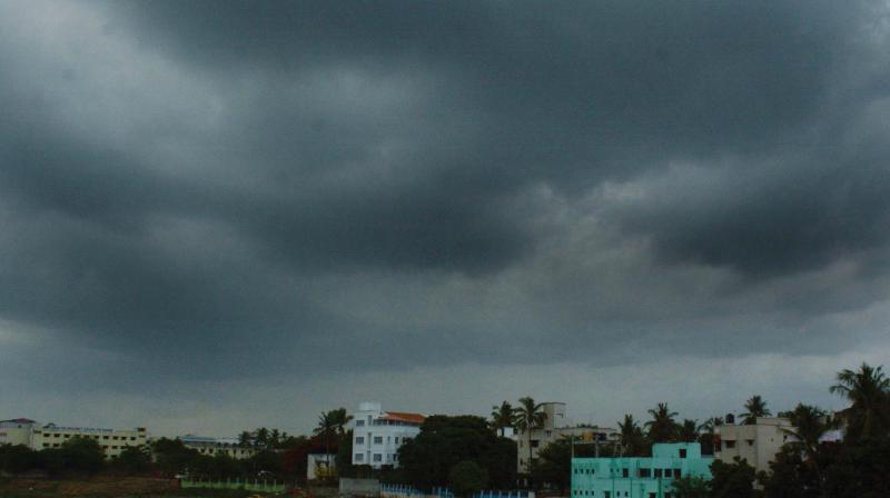 Dark clouds seen over Saidapet in Chennai on Tuesday. (Photo: E.K.Sanjay)
