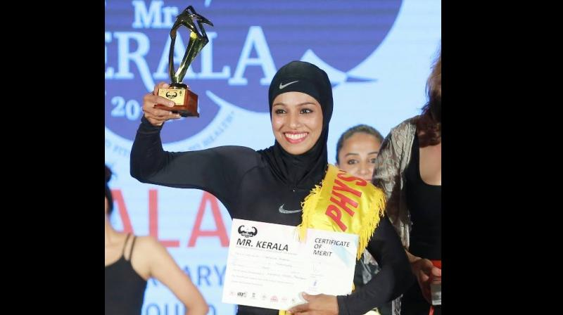 A final year BDS student from Orkatteri in Kozhikode, she was awarded the title of the strongest woman of Kerala thrice by the state's Powerlifting Association. (Facebook/ Majiziya Bhanu)
