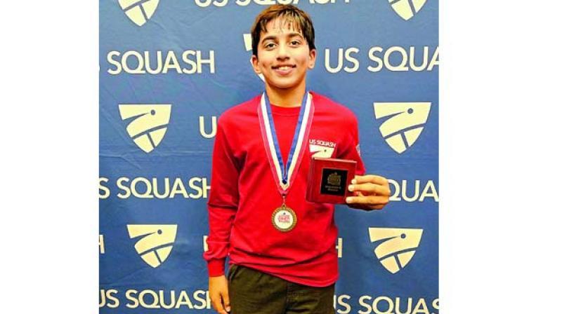 Rohan Arya Gondi after winning the US Junior Squash Open championship