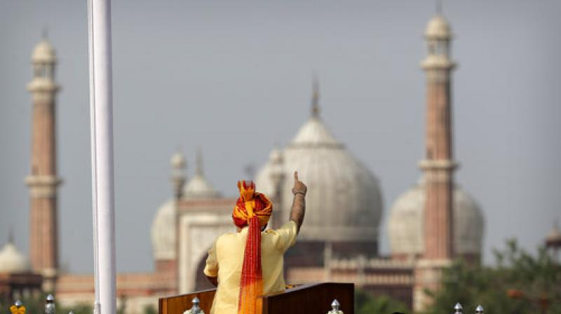 Indian Prime Minister Narendra Modi addresses the nation on the country's Independence Day from the ramparts of the historical Red Fort in New Delhi, India, Tuesday, Aug. 15, 2017. (Photo: AP)