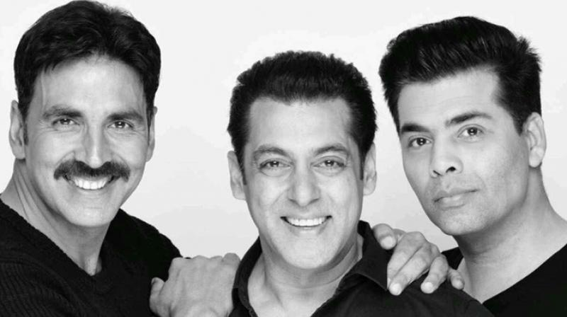 The picture that Akshay Kumar, Salman Khan and Karan Johar had shared on social media while announcing the project.