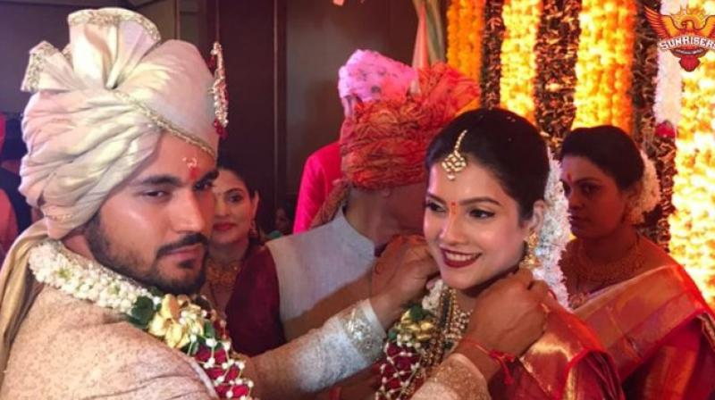 India skipper Virat Kohli on Tuesday congratulated team-mate Manish Pandey on getting hitched. On Monday, Manish Paney got married to actor Ashrita Shetty. (Photo:Twitter)