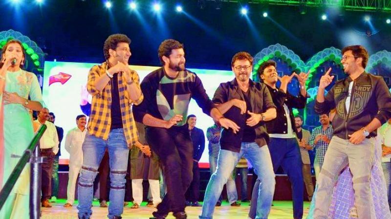 Devi Sri Prasad, Varun Tej, Venkatesh, Anil Ravipudi were seen dancing on the stage