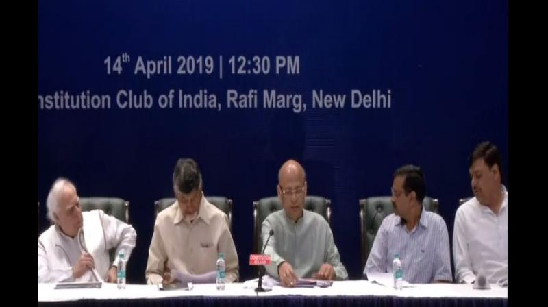Opposition leaders including TDP chief N Chandrababu Naidu, Congress' Abhishek Manu Singhvi and AAP's national convenor Arvind Kejriwal, on Sunday questioned the reliability of the electronic voting machines (EVMS) and demanded a mandatory paper trail count in at least 50 per cent of the Assembly constituencies in all Lok Sabha seats. (Photo: ANI)