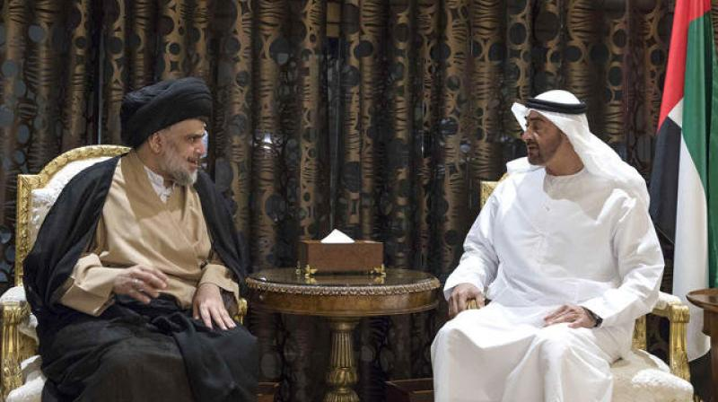 Sheikh Mohammed bin Zayed Al-Nahyan, crown prince of Abu Dhabi and deputy supreme commander of the UAE Armed Forces, meets with Iraqi Shiite leader Moqtada al Sadr in Abu Dhabi. (Photo: AFP)