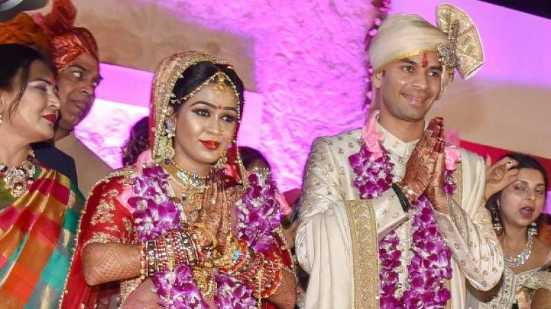 Tej Pratap Yadav married Aishwarya Rai, who is the daughter of RJD MLA Chandrika Rai on May 12. (Photo: File | PTI)