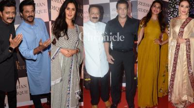 Several celebrities from the film industry, including Salman Khan and most close to him, attended an Iftar party hosted by politician Baba Siddique in Mumbai on Sunday. (Photos: Viral Bhayani)