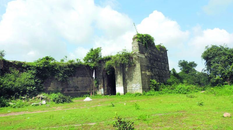 Gond Raja's Fort in dilapidated condition in Utnoor of Adilabad district.