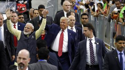 President Donald Trump and Indian Prime Minister Narendra Modi walk around NRG Stadium waving to the crowd during the 'Howdy Modi: Shared Dreams, Bright Futures' event on Sunday, September 22, 2019, in Houston. (Photo: AP)