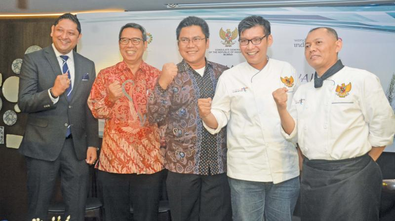 Gaurav Magoo, GM, Rain Tree hotel, Ade Sukendar, consul-general of Indonesia, Mumbai, Pupung Thariq Fadhillah, Dy director of promotions in India of Indonesian tourism ministry with chefs Sukarno Wibowo and Faisal Martadinata at the  inaugural of the Indonesian food festival in Chennai on Thursday.  (Photo: DC)