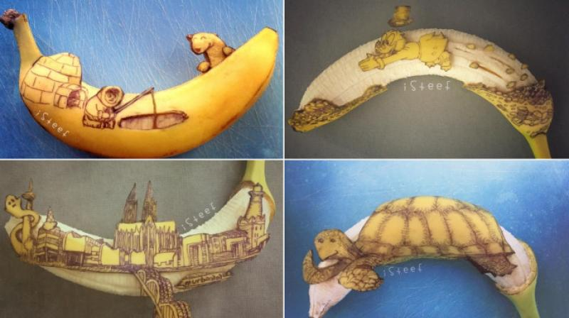 Dutch artist Stephan Brusche creates art on bananas to make unique fruit doodles inspired by popular fiction characters. (Photo: Instagram/StephanBrusche)