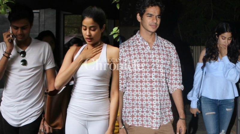 Sridevi's daughter Janhvi was snapped with two of her 'rumoured boyfriends' in Mumbai on Friday. (Photo: Viral Bhayani)