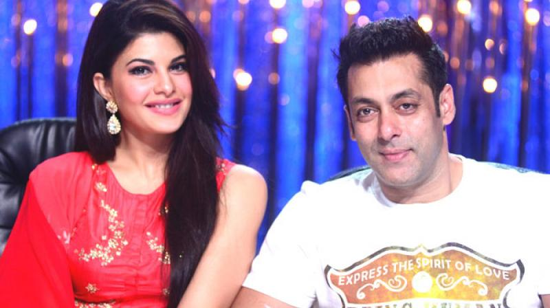 Salman Khan and Jacqueline Fernandez on a TV show.
