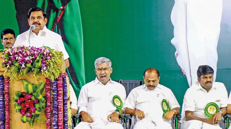 Chief Minister Edappadi K. Palaniswami speaks at the  centenary celebrations of late chief minister M.G.  Ramachandran in Kanyakumari, Saturday.  (Photo:PTI)