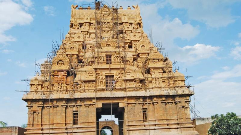 Partly cleaned Keralandhagan gopuram of the Big Temple in Thanjavur. (Photo:DC)