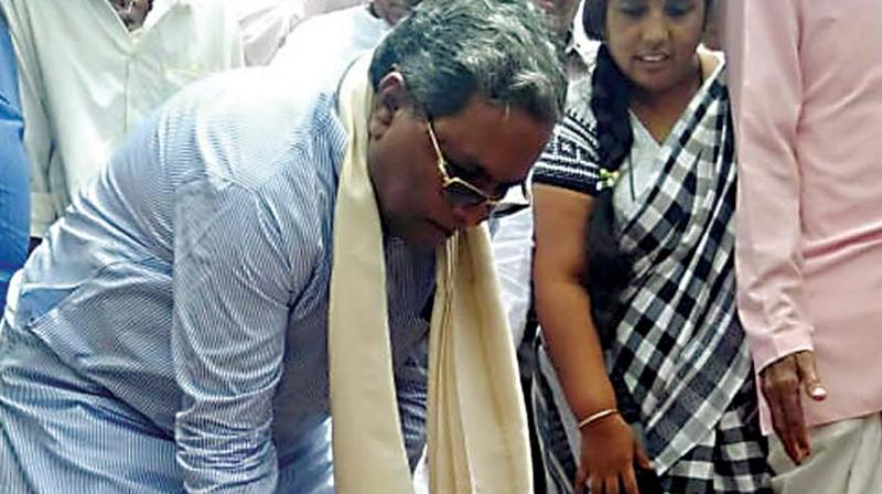 CLP leader Siddaramaiah launches work on development projects in Badami on Thursday.  (KPN)