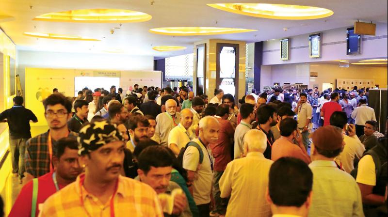 Even on Monday (working day), techies from Marathahalli, Whitefield, Sarjapur Road, Electronic City and other areas waited in line for hours to watch their favourite flicks.