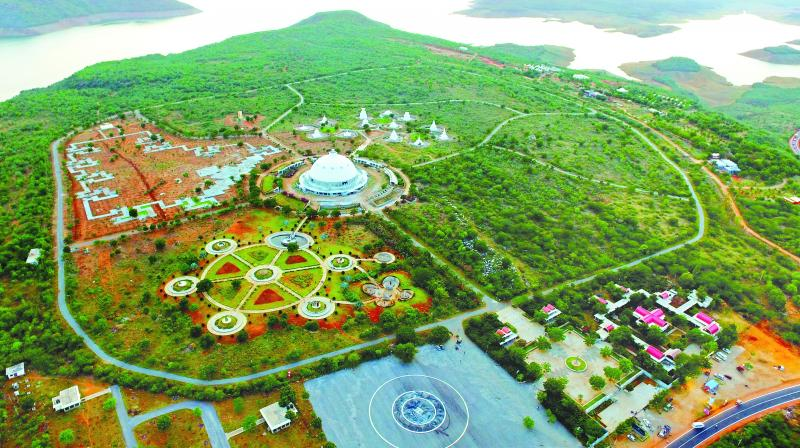 An aerial view of Buddhavanam, the Buddhist heritage theme park, at Nagarjunasagar. The theme park is the first of its kind in the country and depicts major events in the life of Buddha.