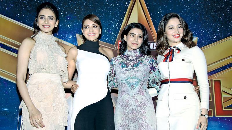 Rakul, Sam, Tammu, Kajal do a promo for Captain Marvel