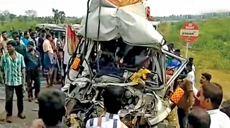 The mangled remains of the van near Pudukkottai on Sunday. (Photo: DC)