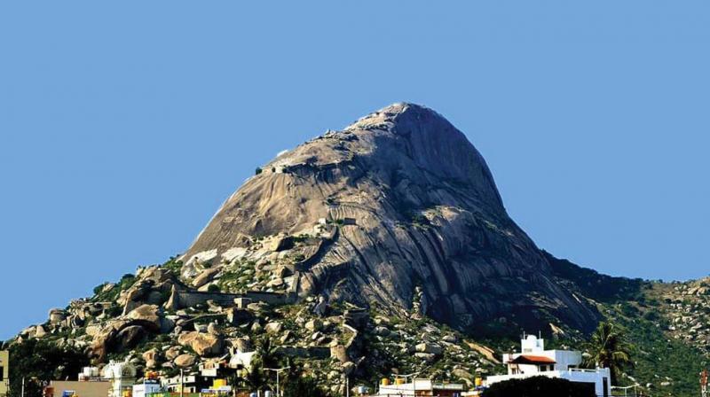 The Madhugiri hill in Tumakuru