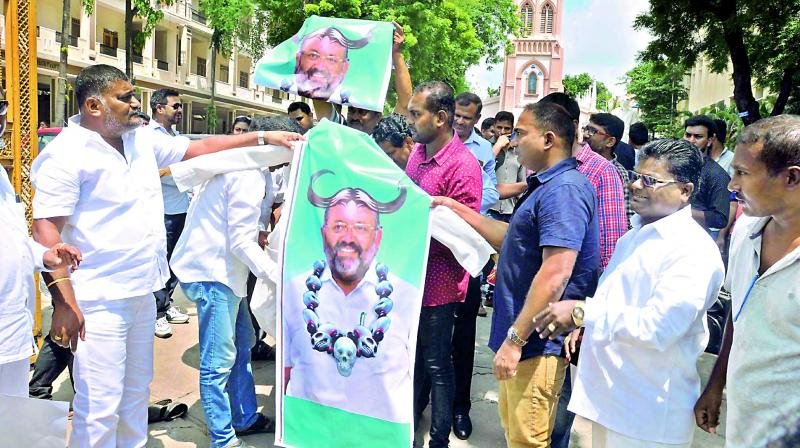 Members of Christian community protest against nominated MLA Elvis Stephen-son's remarks on educational institutions at St. Mary's Church in Secunderabad on Sunday.  — DC