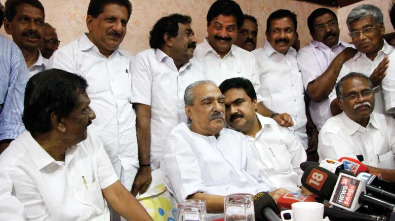 K.M. Mani, Jose K Mani and P.J. Joseph during the last steering committee meeting of Kerala Congress (M).