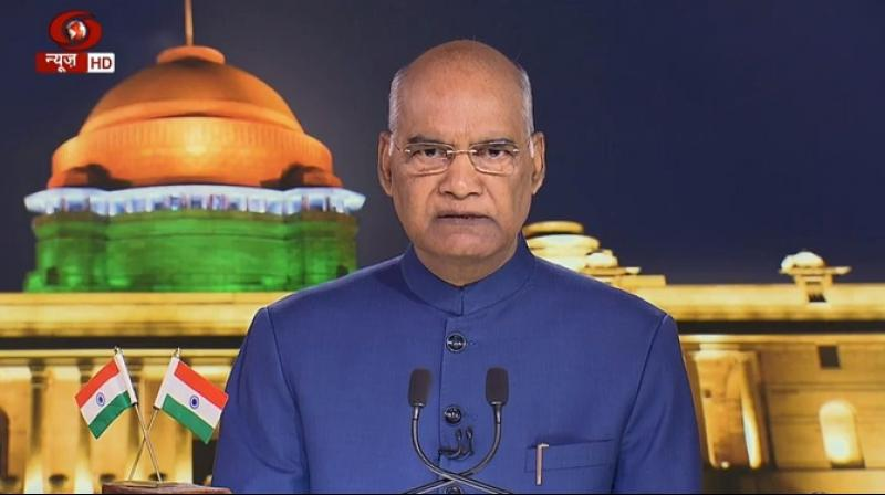 'People will be able to enjoy and get access to the same rights, privileges and facilities as their fellow citizens in the rest of the country,' Kovind said. (Photo: ANI | DD)