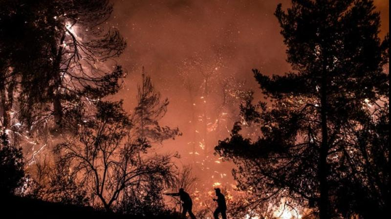 The fire that broke out in the early hours of Tuesday on Greece's second-largest island prompted the evacuation of the villages of Kontodespoti, Makrymalli, Stavros and Platana, and threatened the town of Psachna during the night, officials said. (Photo: AFP)
