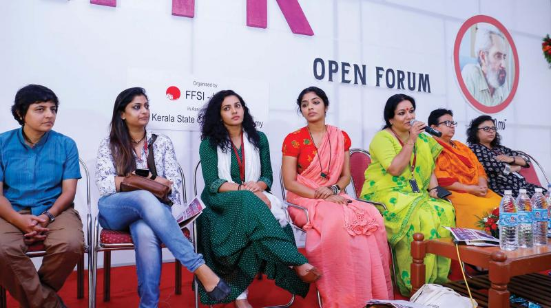 Members of the Women in Cinema Collective interact with the media during an Open Forum at IFFK. (Photo— DC File)