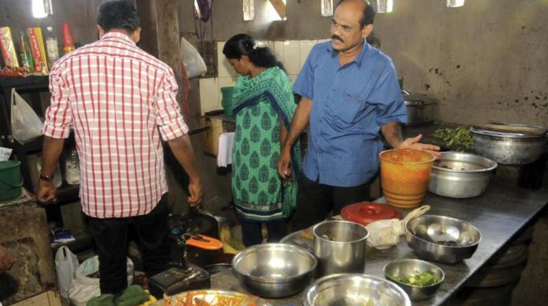 A food safety inspection in progress at Thiruvananthapuram. —FILE pic