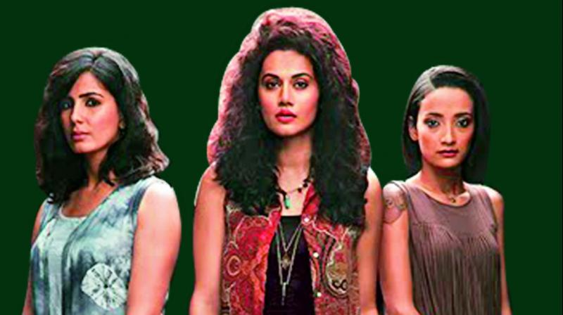 Dark truths Kirti Kulhari , Taapsee Pannu and Andrea Tariang in a still from Pink that addresses issues of stalking and sexual assault.