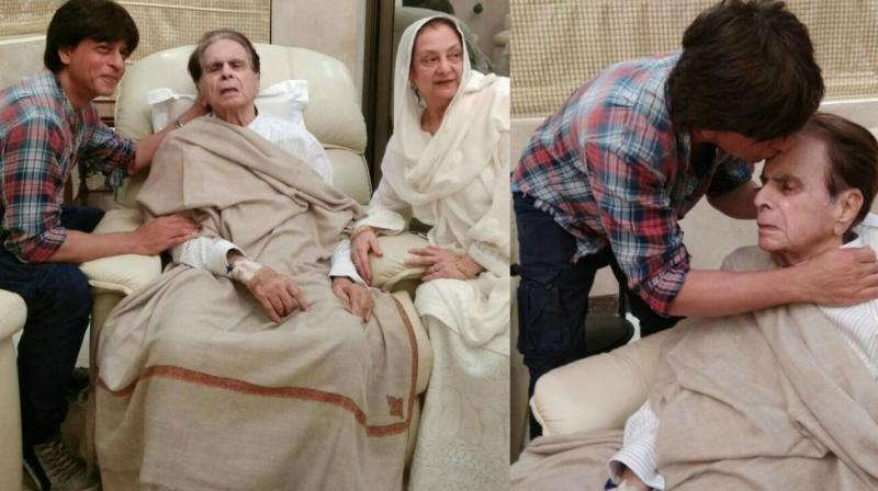 Pictures of Shah Rukh Khan and Dilip Kumar shared on the latter's Twitter handle.