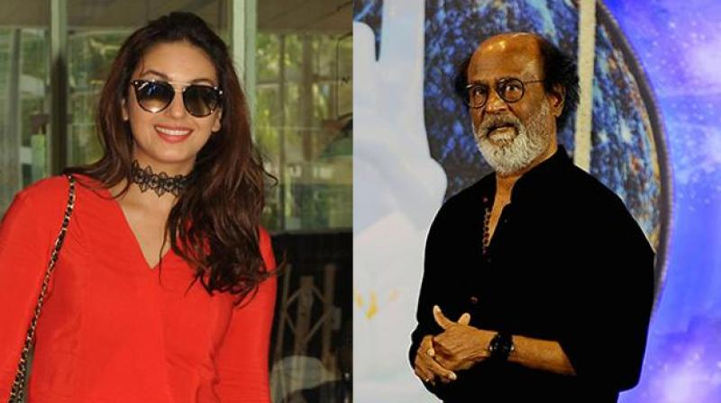 Huma Qureshi and Rajinikanth.
