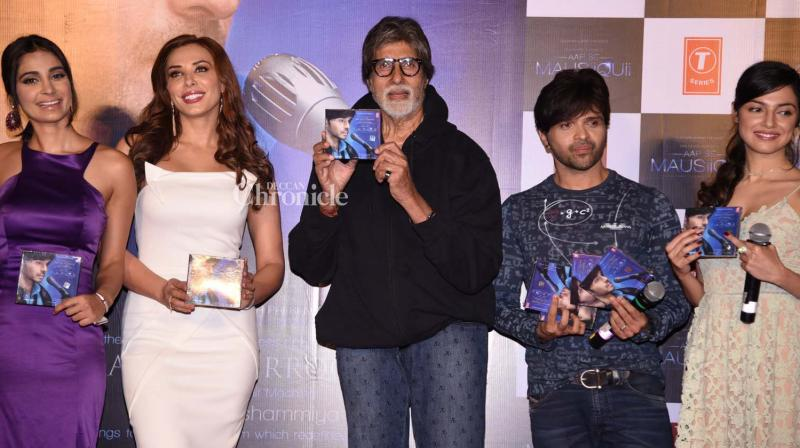 Amitabh Bachchan launched Himesh Reshammiya's new album which also features a track sung by Iulia Vantur on Monday. (Photo: Viral Bhayani)