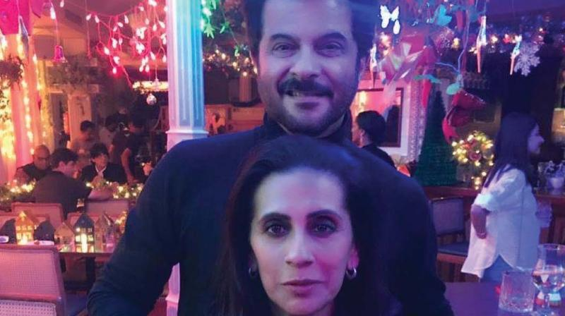 Anil Kapoor with wife.