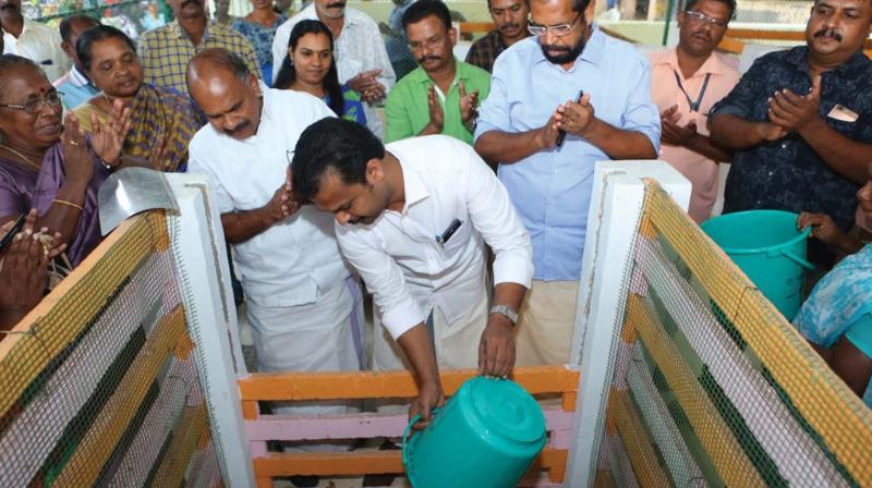 Mayor V.K. Prasanth inaugurating the newly installed aerobic bin unit at Valiyathura Market. (File pic)