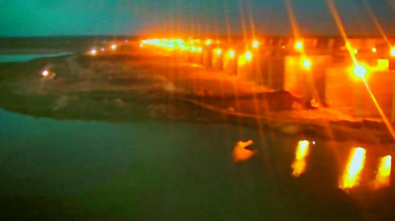 Lit-up dam of the Kaleshwaram Lift Irrigation Project days ahead of its inauguration.