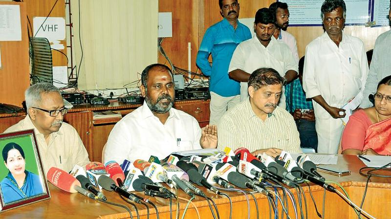 Revenue minister R.B. Udhayakumar addresses media in Chennai on Tuesday on the aftermath of the rough sea and high waves in southern coastal districts (Photo: DC)