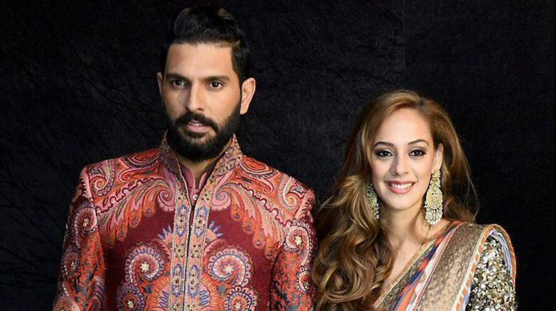 Yuvraj Singh-Hazel Keech's wedding recption in Delhi on Wednesday was attended by many cleberities including MS Dhoni, Harbhajan Singh. (Photo: PTI)